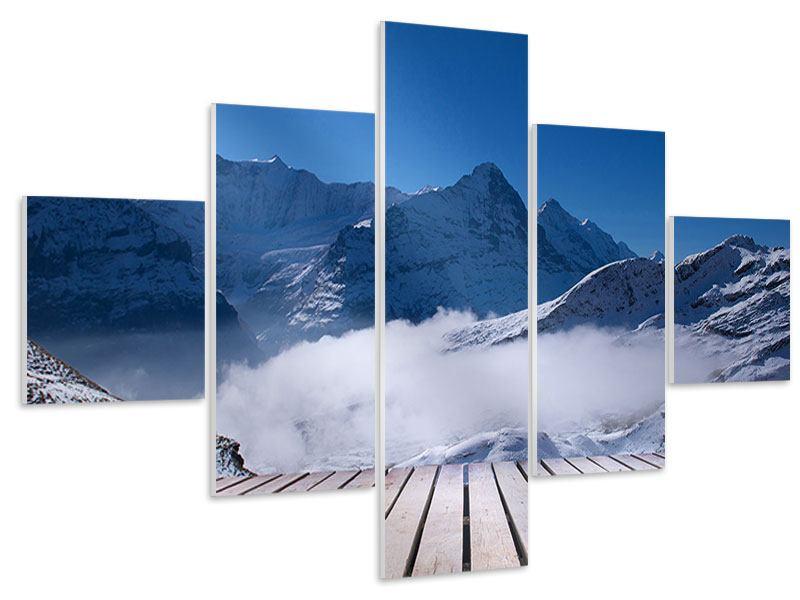 Hartschaumbild 5-teilig Sonnenterrasse in den Schweizer Alpen