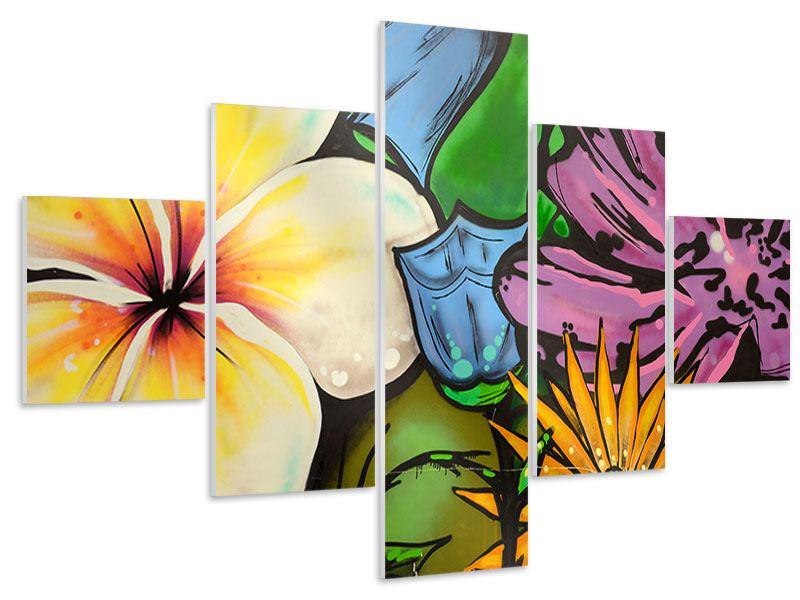 Hartschaumbild 5-teilig Graffiti Flowers