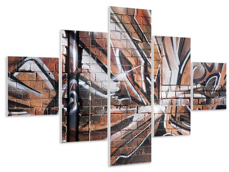 Hartschaumbild 5-teilig Graffiti Mauer