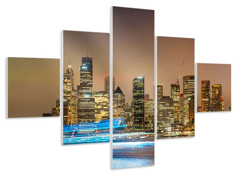 Hartschaumbild 5-teilig Skyline Sydney im Lichtermeer