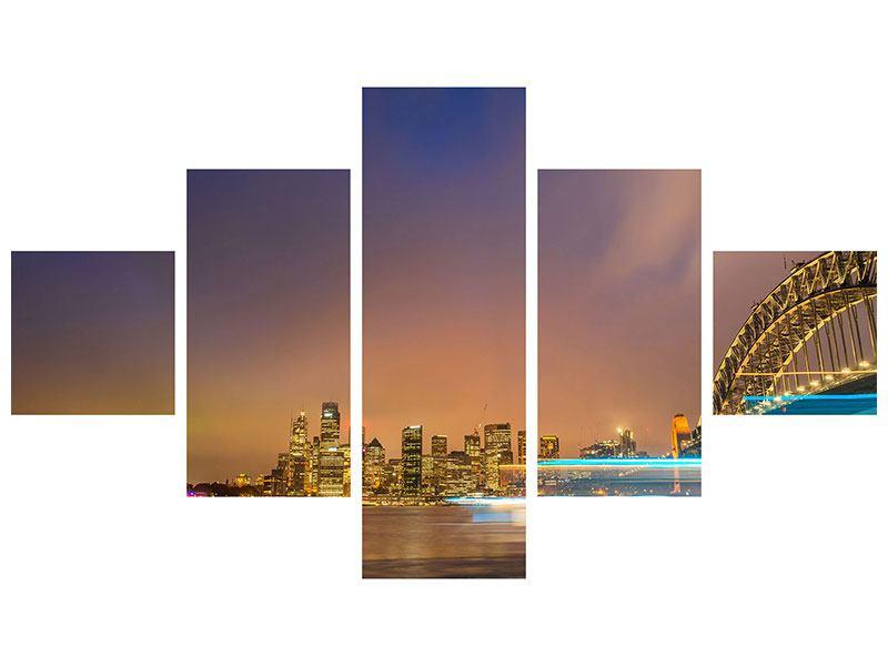 Hartschaumbild 5-teilig Skyline Opera House in Sydney im Abendlicht