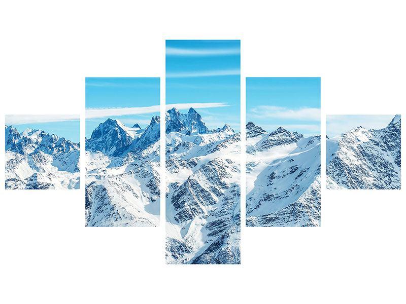 Hartschaumbild 5-teilig Alpenpanorama