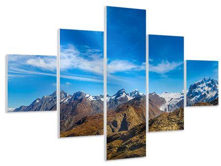Hartschaumbild 5-teilig Schweizer Alpen im Frühling