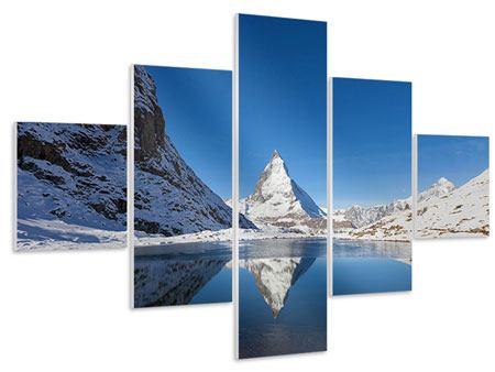 Hartschaumbild 5-teilig Der Riffelsee am Matterhorn
