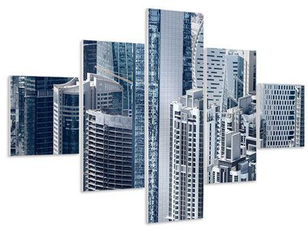 Hartschaumbild 5-teilig Die Wolkenkratzer von Dubai