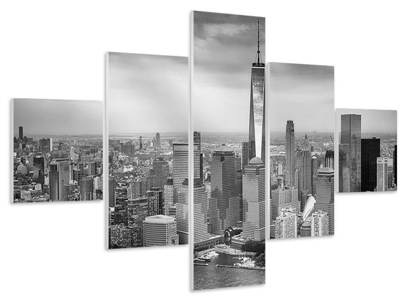 Hartschaumbild 5-teilig Skyline Schwarzweissfotografie New York
