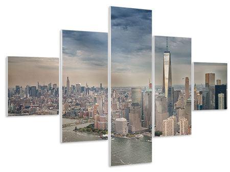 Hartschaumbild 5-teilig Skyline Manhattan