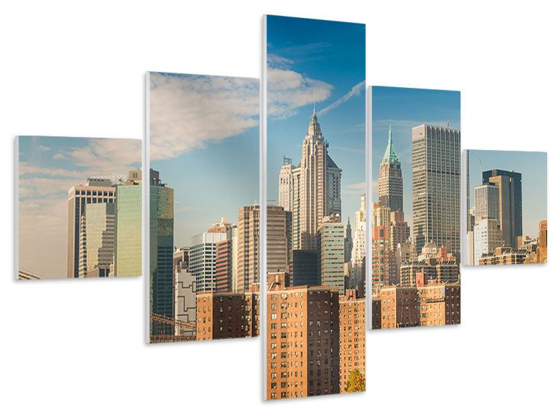 Hartschaumbild 5-teilig Skyline New York