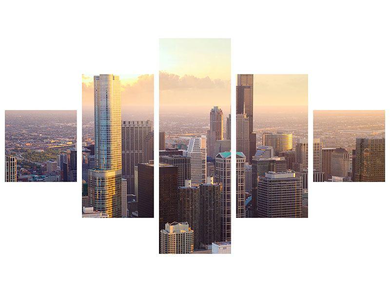 Hartschaumbild 5-teilig Skyline Chicago