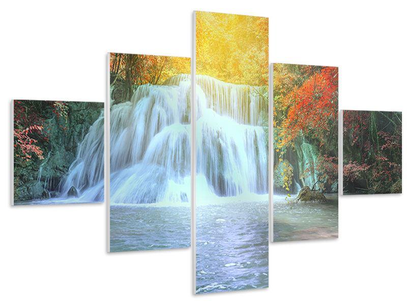 Hartschaumbild 5-teilig Wasserfall im Licht