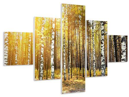 Hartschaumbild 5-teilig Birkenwald