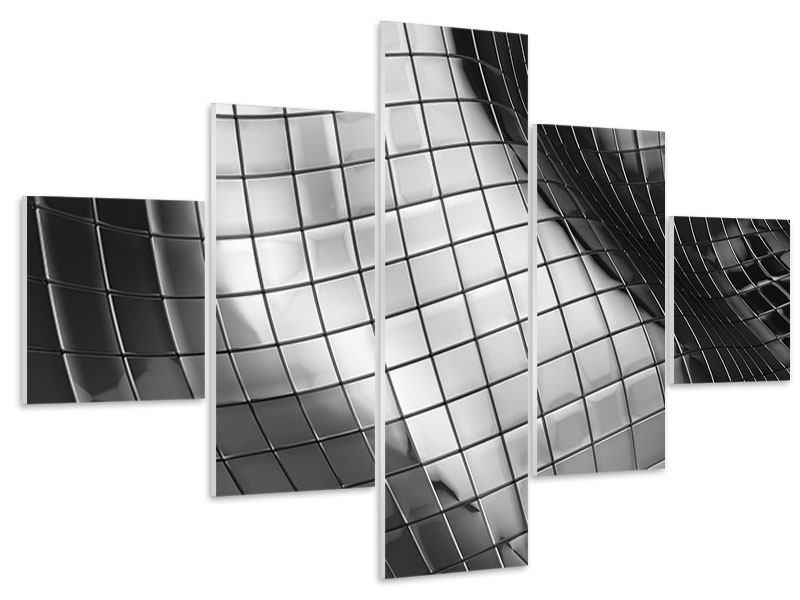 Hartschaumbild 5-teilig Abstrakter Stahl