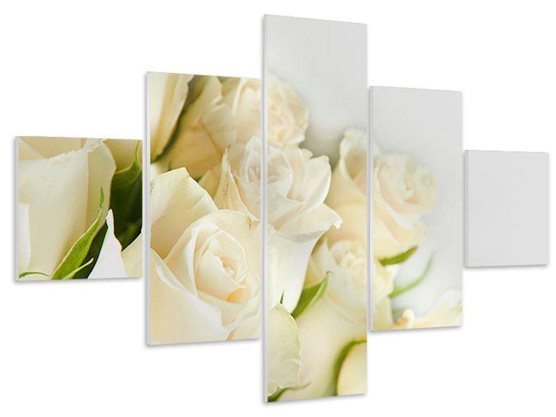 Hartschaumbild 5-teilig Weisse Rosen