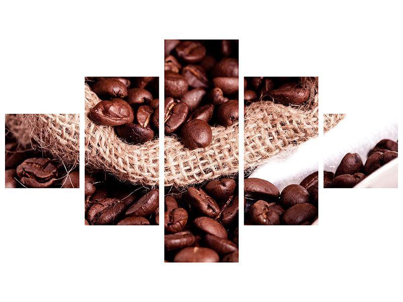 Hartschaumbild 5-teilig XXL Kaffeebohnen