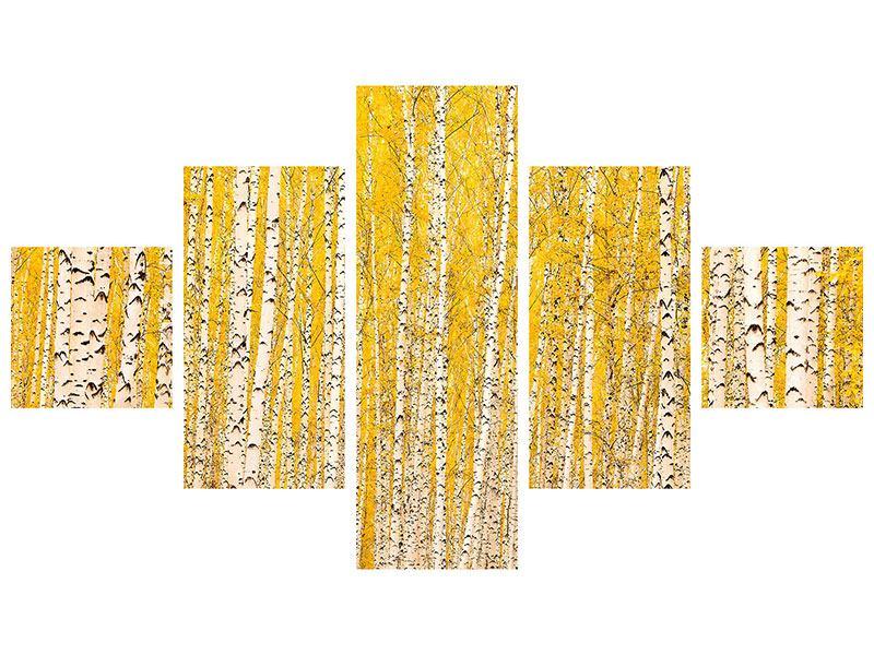 Hartschaumbild 5-teilig Der Birkenwald im Herbst