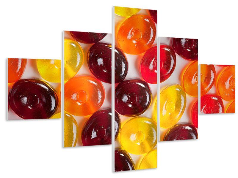 Hartschaumbild 5-teilig Bonbons