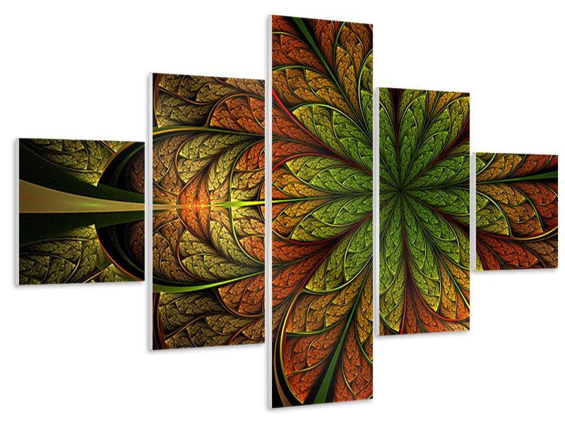Hartschaumbild 5-teilig Abstraktes Blumenmuster