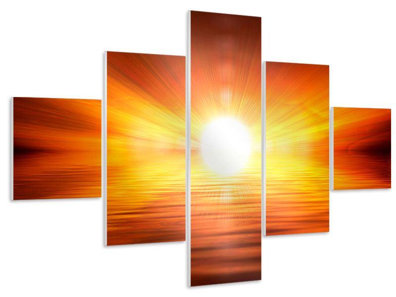 Hartschaumbild 5-teilig Glühender Sonnenuntergang