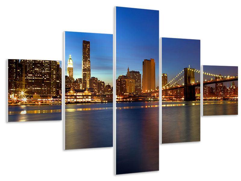 Hartschaumbild 5-teilig Skyline Manhattan im Lichtermeer