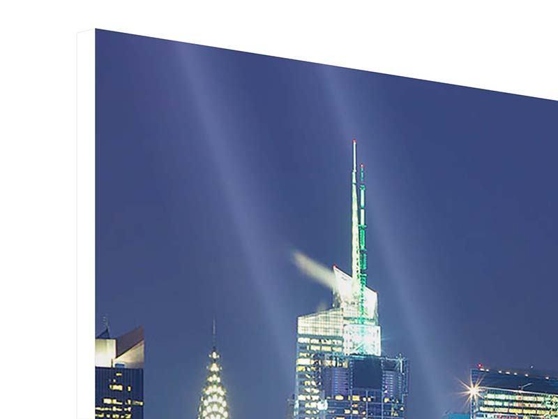 Hartschaumbild 5-teilig Skyline New York Midtown bei Nacht