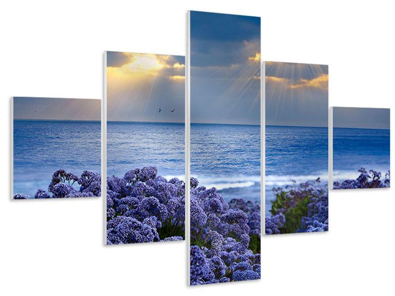 Hartschaumbild 5-teilig Der Lavendel und das Meer