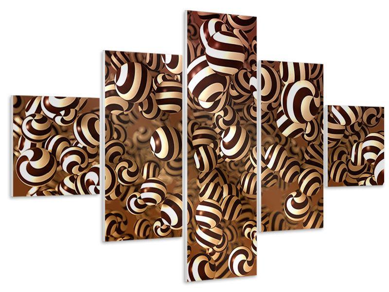 Hartschaumbild 5-teilig Schokoladen-Bonbons