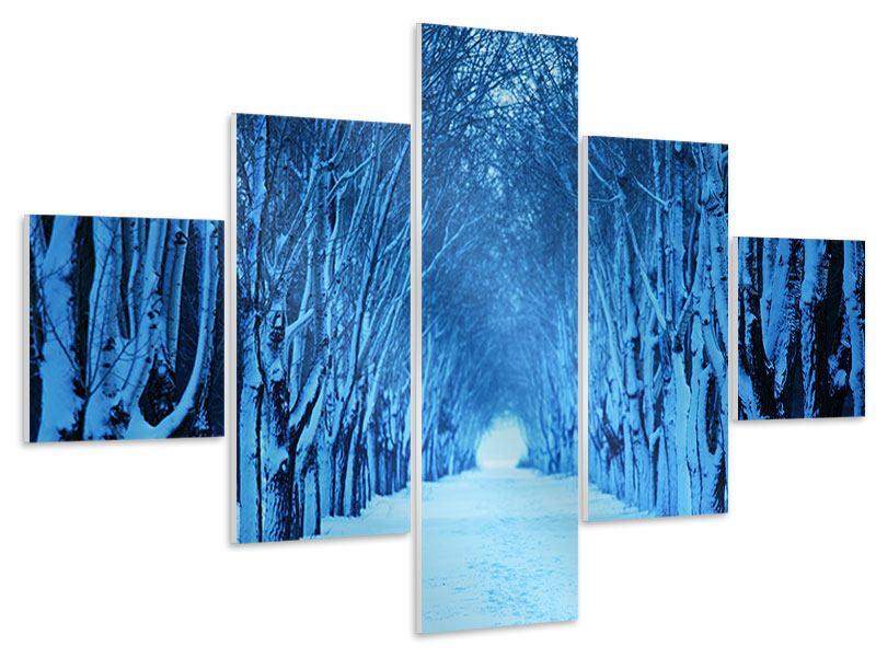 Hartschaumbild 5-teilig Winterbäume