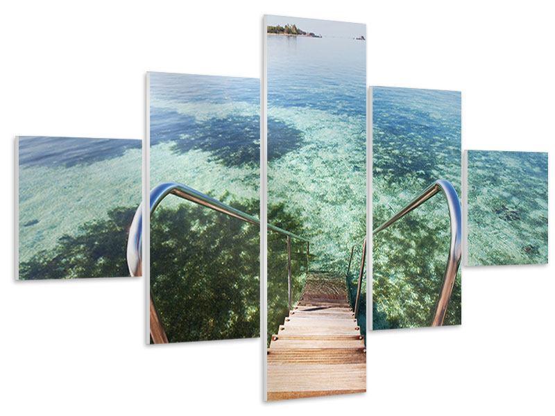 Hartschaumbild 5-teilig Bad im Meer