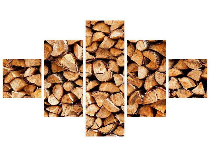 Hartschaumbild 5-teilig Gestapeltes Holz