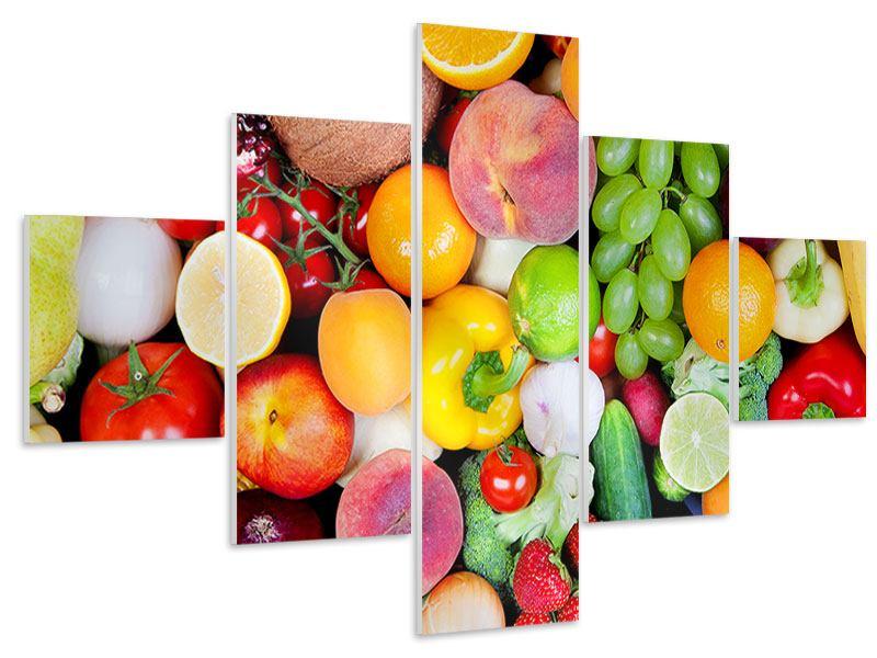 Hartschaumbild 5-teilig Frisches Obst
