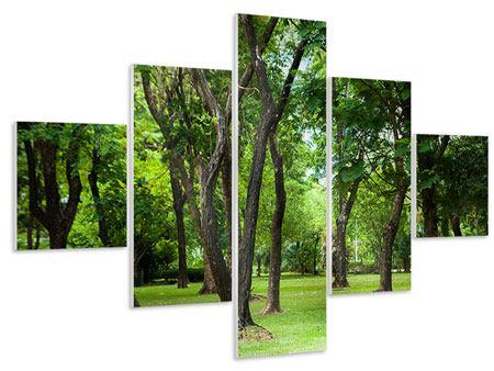 Hartschaumbild 5-teilig Kirschbaum-Garten