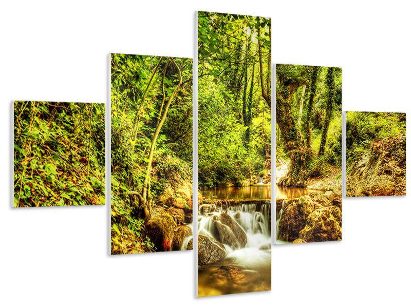Hartschaumbild 5-teilig Wasserfall im Wald