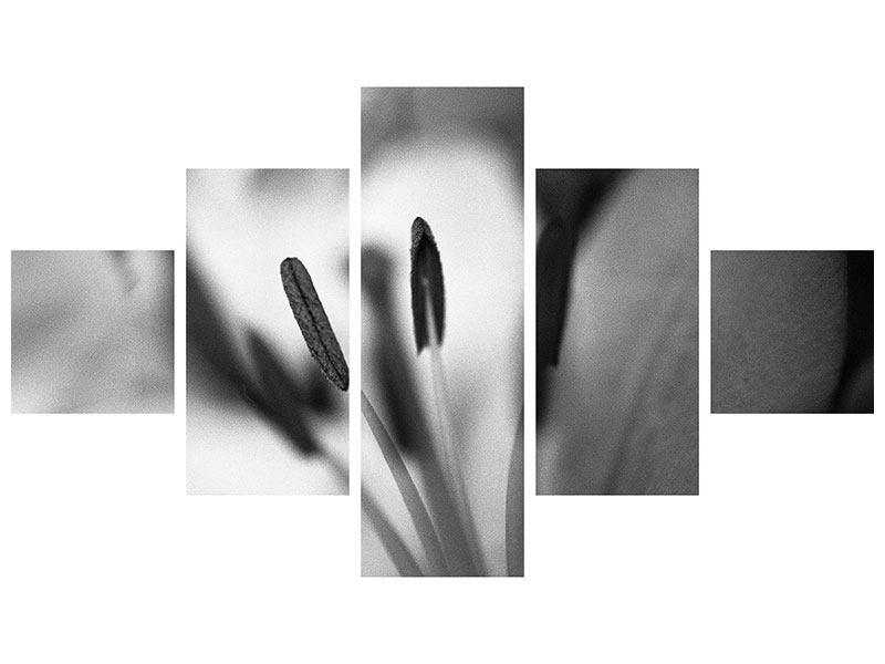 Hartschaumbild 5-teilig Makro Lilienblatt