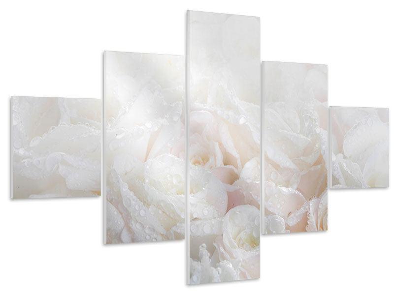 Hartschaumbild 5-teilig Weisse Rosen im Morgentau