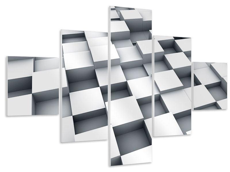 Hartschaumbild 5-teilig 3D-Kubus