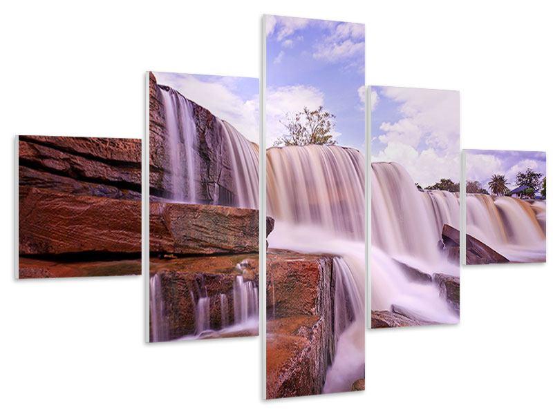 Hartschaumbild 5-teilig Himmlischer Wasserfall