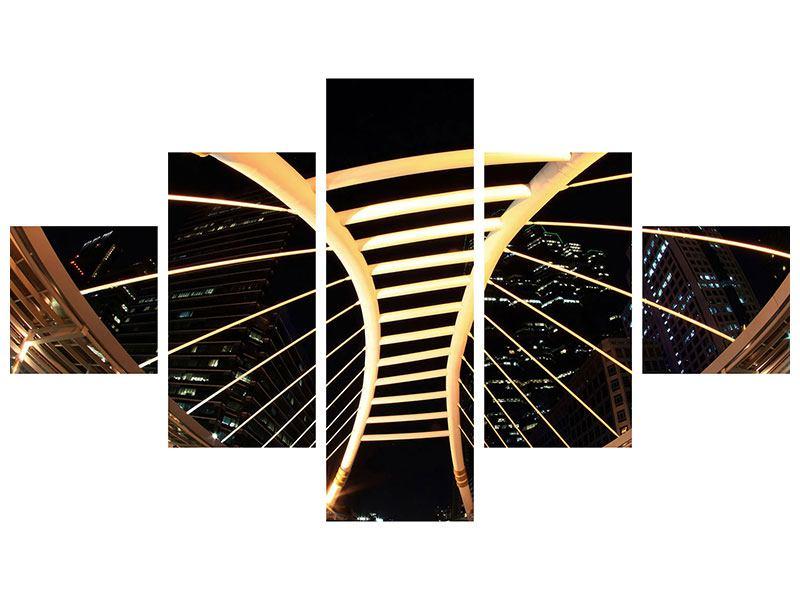 Hartschaumbild 5-teilig Avantgardistische Brücke