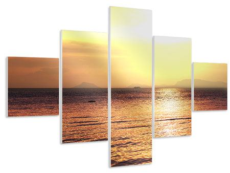 Hartschaumbild 5-teilig Sonnenuntergang an der See