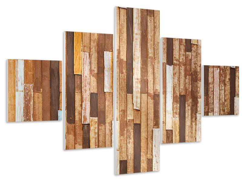 Hartschaumbild 5-teilig Designholz
