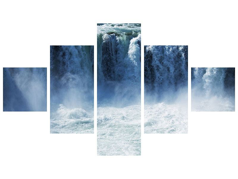 Hartschaumbild 5-teilig Mächtiger Wasserfall