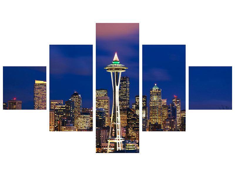 Hartschaumbild 5-teilig Skyline Seattle
