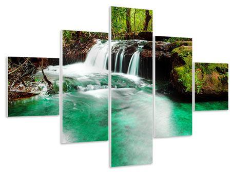 Hartschaumbild 5-teilig Der Fluss am Wasserfall