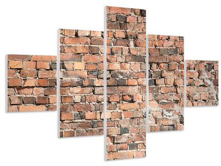 Hartschaumbild 5-teilig Alte Backsteinmauer
