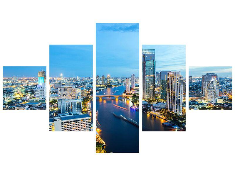 Hartschaumbild 5-teilig Skyline Bangkok in der Abenddämmerung