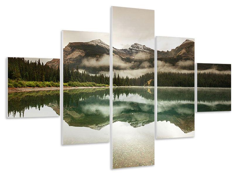 Hartschaumbild 5-teilig Spiegelung im Glacier Nationalpark