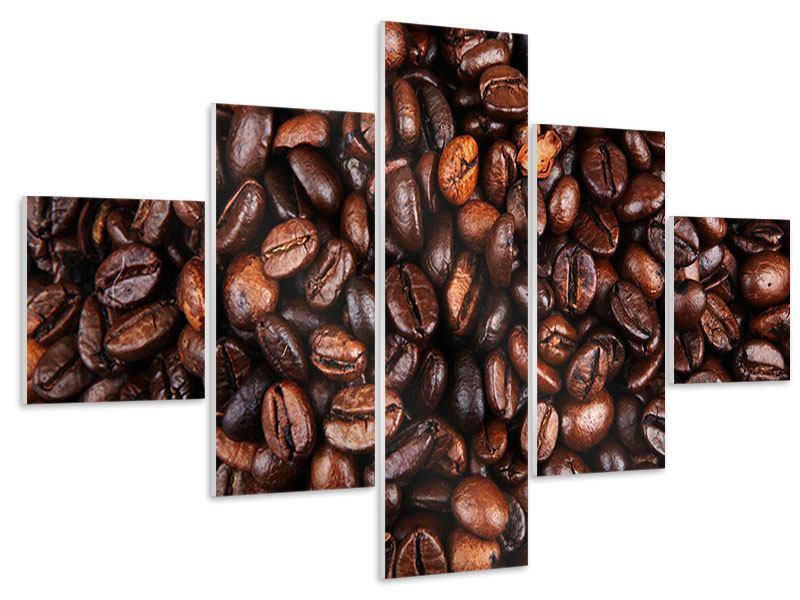 Hartschaumbild 5-teilig Kaffeebohnen in XXL