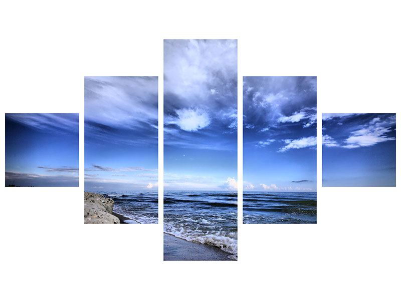 Hartschaumbild 5-teilig Strandwellen