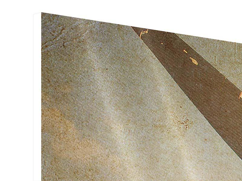 Hartschaumbild 5-teilig Propellerflugzeug im Grungestil