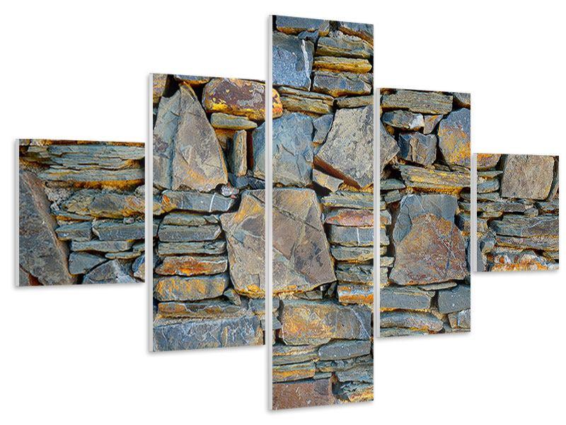 Hartschaumbild 5-teilig Natürliche Steinmauer