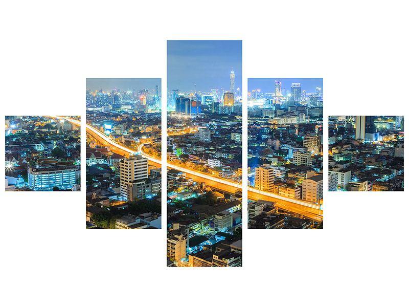 Hartschaumbild 5-teilig Skyline Bangkok im Fieber der Nacht